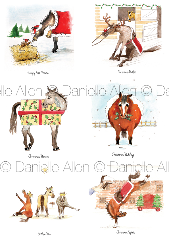 Christmas Mixed Horse Pack – 6 Cards – Danielle Allen Animal Artist